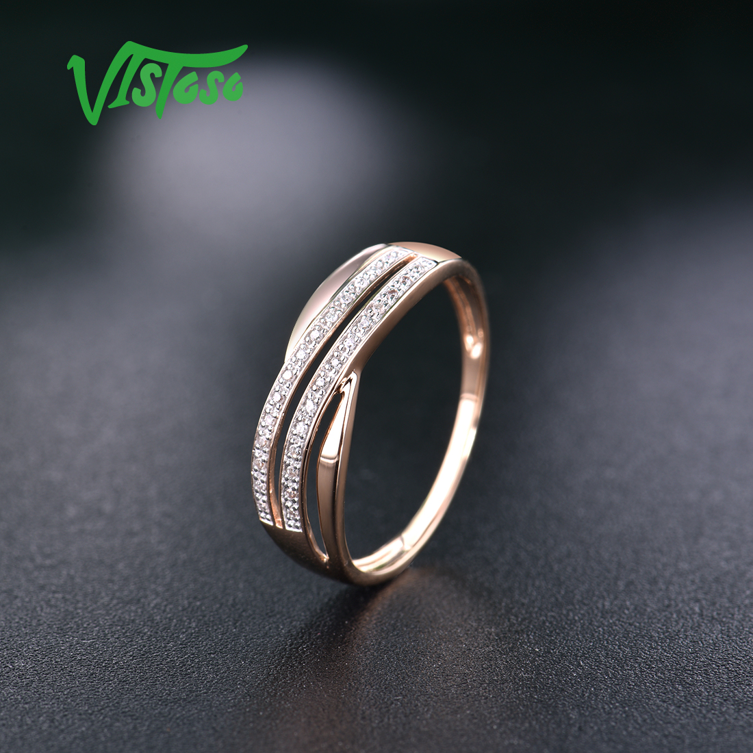 VISTOSO Genuine 14K 585 Rose Gold Chic Rings For Lady
