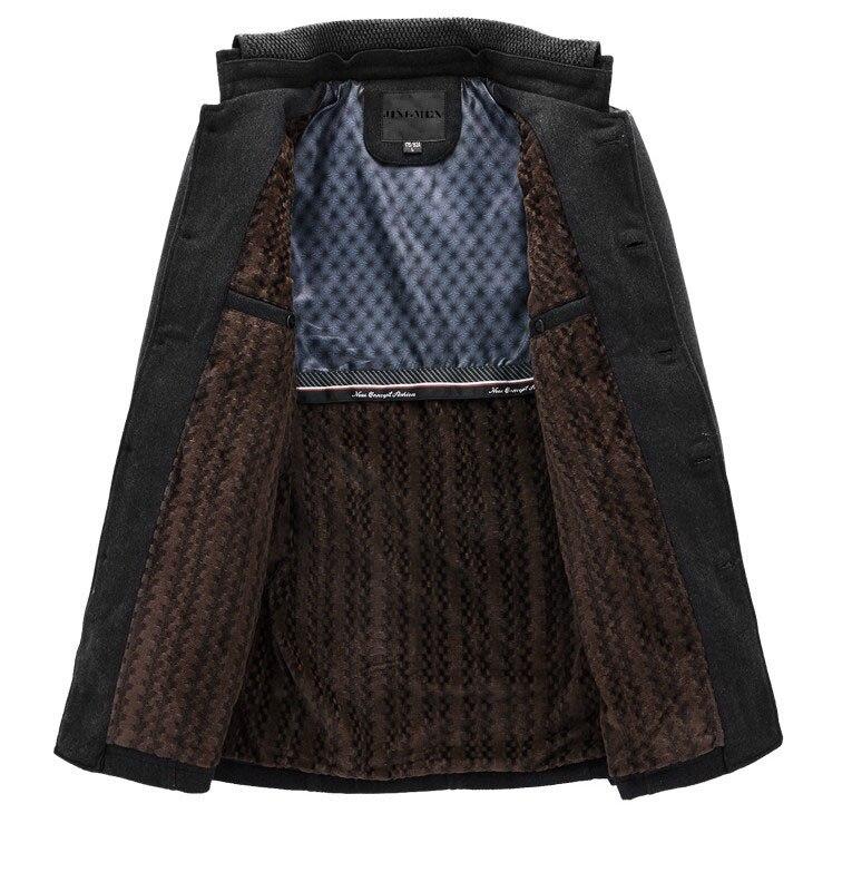 Drop shipping nowa marka zima męska kurtka z wełny dorywczo płaszcz mężczyzna zagęścić kurtki mężczyźni płaszcz czarny/szary Plus rozmiar M XXXL w Kurtki od Odzież męska na  Grupa 3
