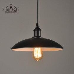 Vintage Industrail Hanglampen Zwart Ijzer Schaduw Verlichtingsarmaturen Keuken Eiland Kantoor Hotel LED Loft Hanger Plafondlamp-in Hanglampen van Licht & verlichting op