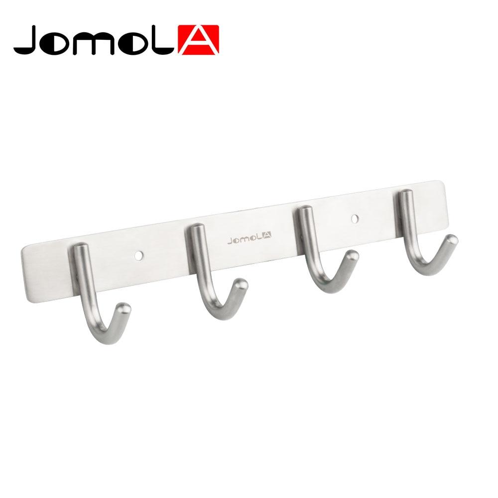 Stainless bathroom accessories - Stainless Steel Coat Hooks Kitchen Towel Hanger Bathroom Accessories Wall Mount Robe Holder Bath Hardware Jomola