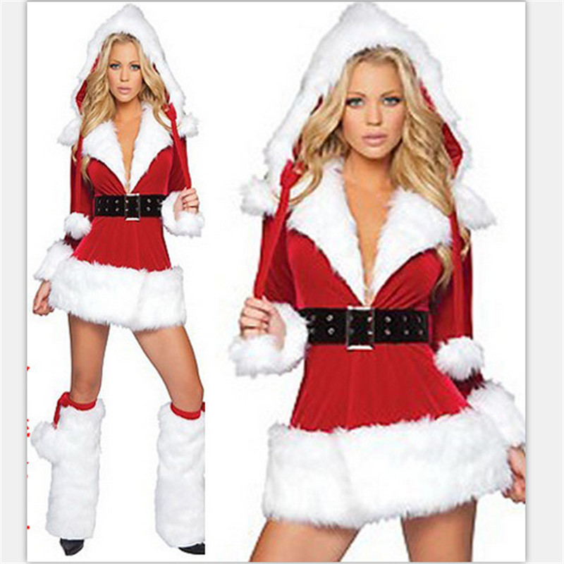 2018 high quality Red long-sleeve dress uniform christmas installation costume christmas clothes for women