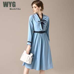 Wordeyige 2018 Autumn Dress For Women Black V Neck Slim 536b31ab8b