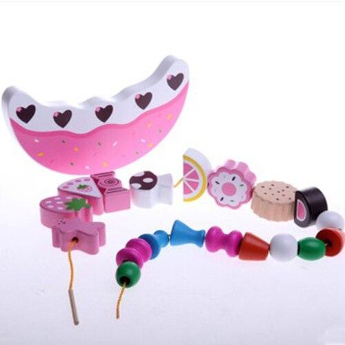 Bois artificiel gâteau fruits puzzle jouet Balance cadre enfants enfants Tollder éducatif assemblage jouets en bois