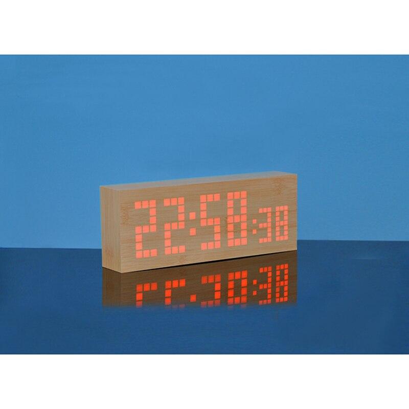Snooze Digital LED De Madeira Alarme Relógio
