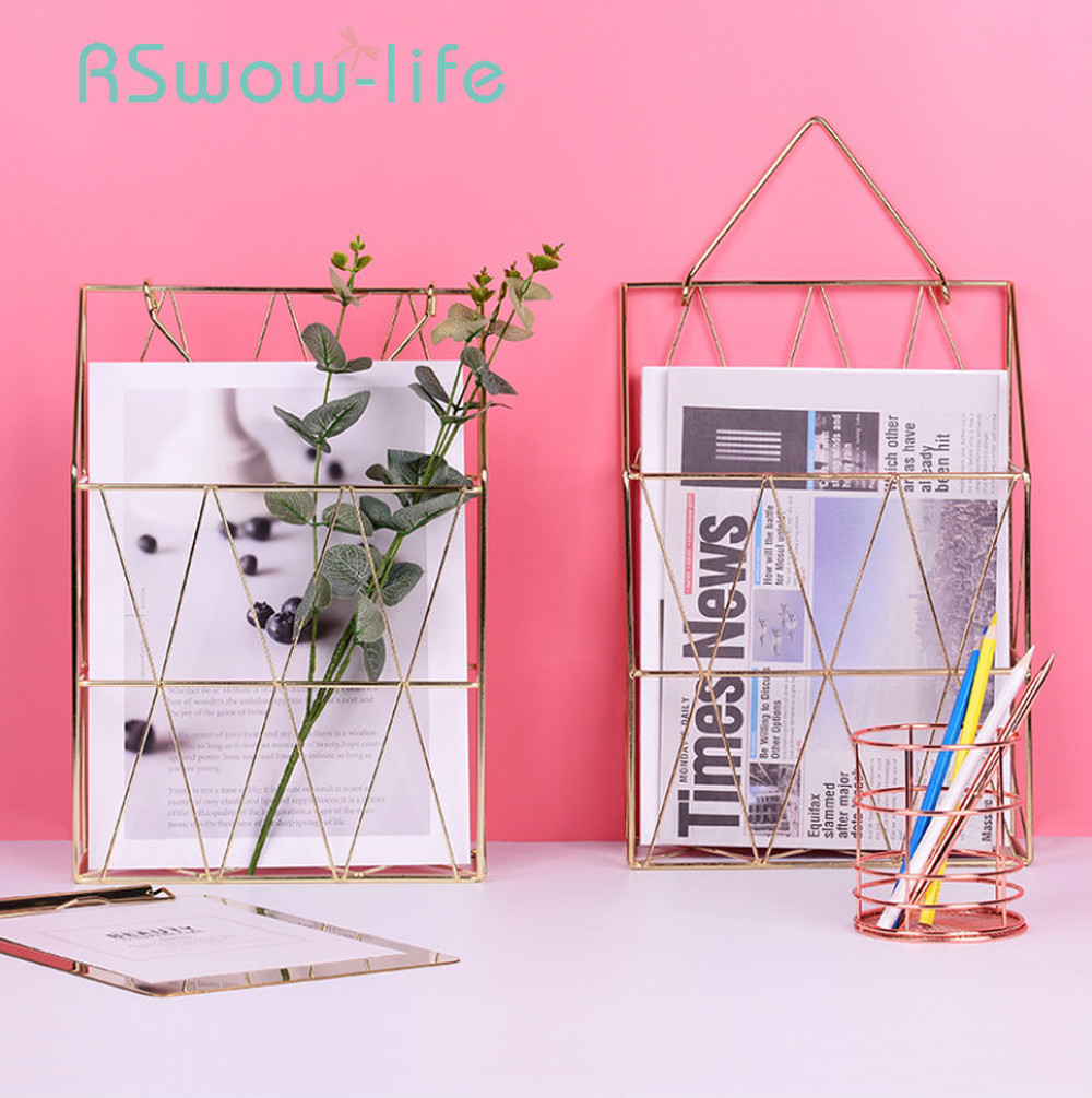 Golden Wrought Iron Storage Basket Wall-mounted Rose Gold  Metal Magazine Storages For Home Office Supplies