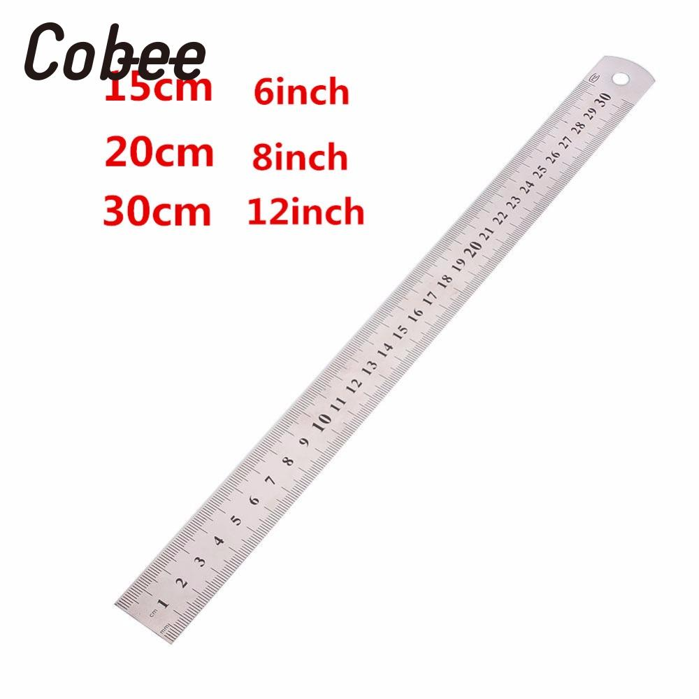 cobee 15 20 30cm 6 8 12 inch metric rule stainless steel ruler metal straight ruler precision. Black Bedroom Furniture Sets. Home Design Ideas
