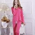 2017 Новый осень женщин хлопка наборы пижамы розовый красный синий фиолетовый цвет Европейский и Американский стиль краткое высокое качество пижамы