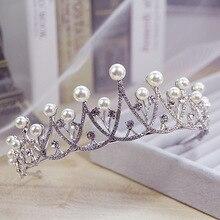 Fashion Simple Silver Pearl Headband Crystal Bridal Crown Rhinestone Diadem For Women Wedding Hair Jewelry Accessories Bijoux