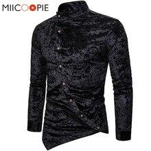 패션 셔츠 남성 드레스 불규칙한 벨벳 긴 소매 Chemise 옴므 남성 캐주얼 솔리드 컬러 슬림 맞는 사회 셔츠 Streetwear