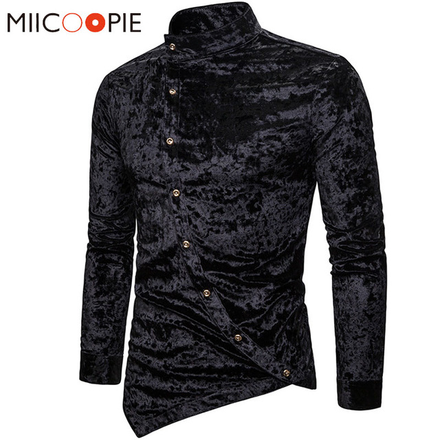 Modne koszule męskie sukienka nieregularna aksamitna koszulka z długim rękawem Homme męskie dorywczo jednokolorowe Slim Fit koszule na przyjęcia towarzyskie Streetwear