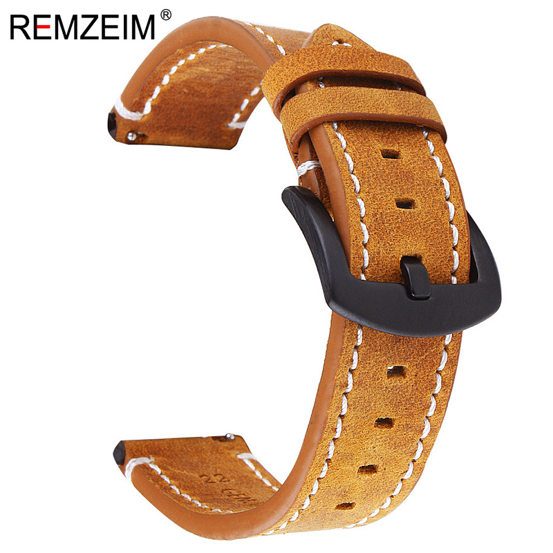 Handmade Vintage Double sided Genuine Leather Brown Black Watchband 18 20 22mm Quick Release Watch band Steel Buckle Strap