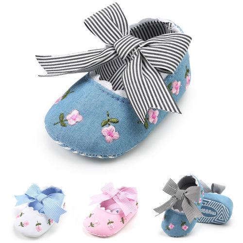 Baby Newborn Toddler Girl Crib Shoes Pram Soft Sole Prewalker Anti-slip Sneakers Baby Girls 0-18M
