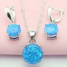Moda Azul Ópalo Australia 925 Reales de Plata Juegos de Joyería Pendientes Colgante/Collar Para Las Mujeres Caja de Regalo Libre