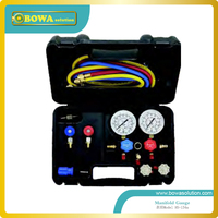 Only 134a manifold set kitswith aluminium alloy valve body with charging hose and quick coupler