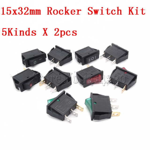 10Pcs Rocker Switch Kit 15A 250V 30A 220VAC 2Pin/3Pin ON-OFF ON-OFF-ON KCD3-102/N 15*32mm Power Switch 5Kinds X 2pcs