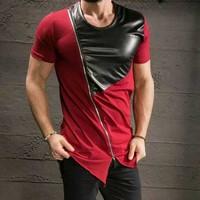 Men Swag Leather T shirt Extend Zip Men's Streetwear T Shirt Oversized zipper Hip Hop Tee Extended Punk T shirt