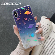 235949c194b LOVECOM láser Color degradado planeta casos para iPhone X XS X Max XR 6 6 S  7 8 Plus de cuerpo completo suave IMD teléfono cubie.