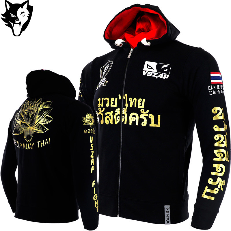 VSZAP Lotus Men MMA Hoodies Coat Autumn Fleece Thicken Unisex Muay Thai Sweatshirts Fitness Kick Boxing Sporting Jacket