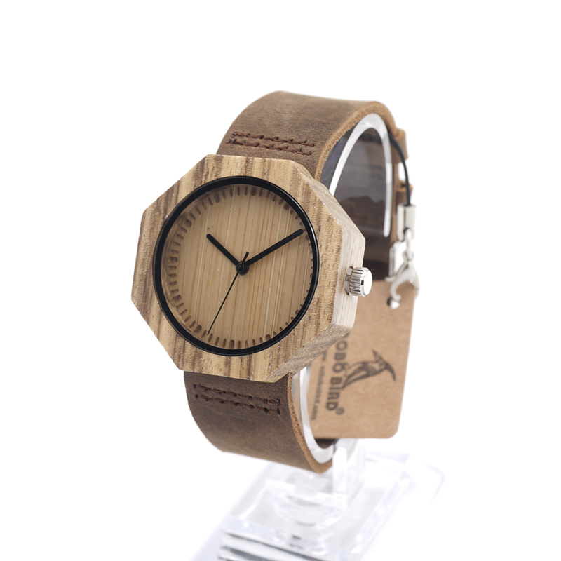 BOBO BIRD Zebra Wooden Quartz Men's Watch Octagon Design Soft Leather Strap Men Women Luxury Bamboo Dial for Unisex bobo bird l b07 bamboo wooden women watches for men casual wood dial face 2035 quartz watch soft silicone strap extra band