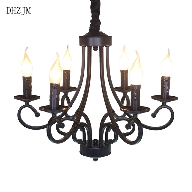 european style 6 arm large chandelier lighting led lampshade wrought