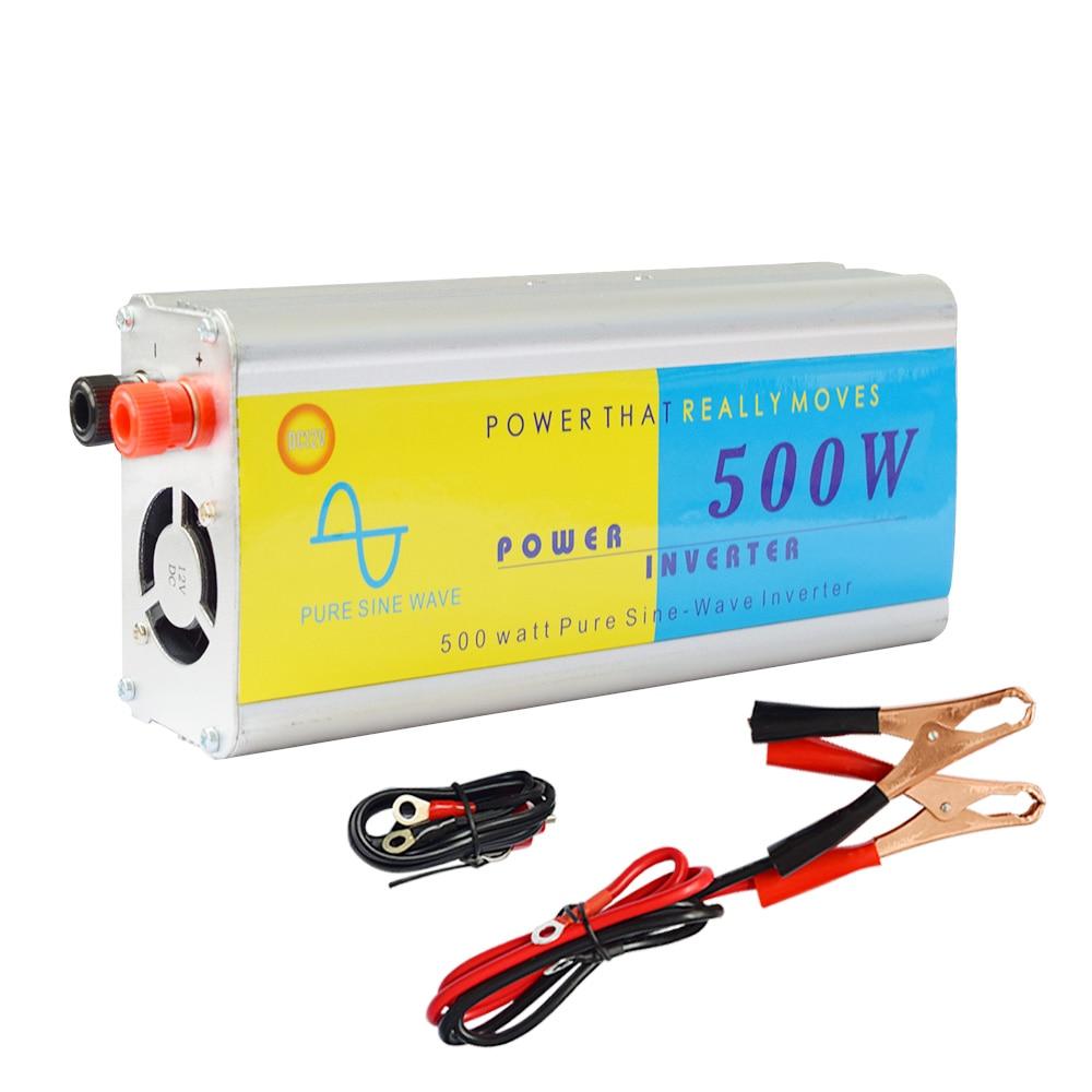 BOGAUNG 500W solar inverter PSW 12V/24V DC to 220V/110V AC Car Cigarette Lighter Plug Power Converter Inverter Peak Power 1000W
