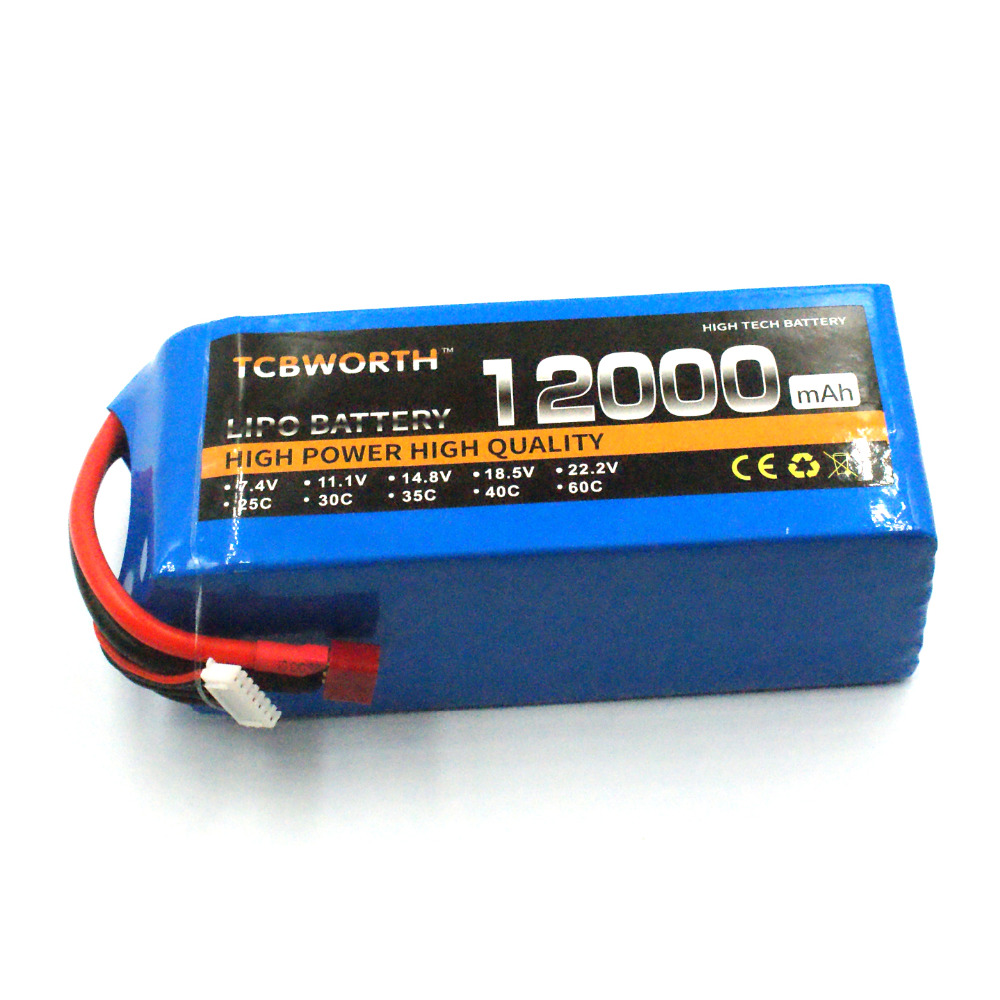 все цены на RC 4s Lipo Battery Power 14.8V 12000mAh 25C RC Airplane Drone Quadrotor Helicopter Car Boat Tank Batteria AKKU Racer TCBWORTH в интернете