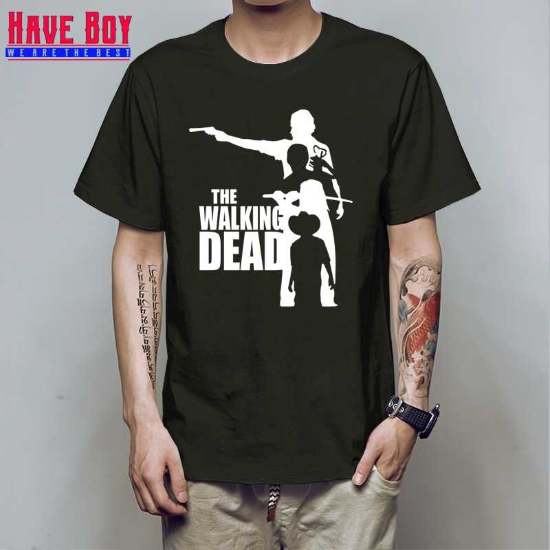 HAVE BOY Men's Casual Cotton Thicken Fleece Pullover Mens O-neck t shirt Fashion The Walking Dead Movie tee HB477