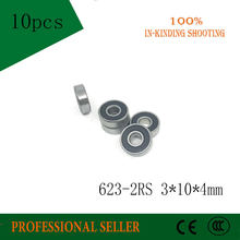 623RS Lager ABEC-3 3x10x4mm (10 Stuks) miniatuur 623-2RS Kogellagers 623 RS 2RS Lager