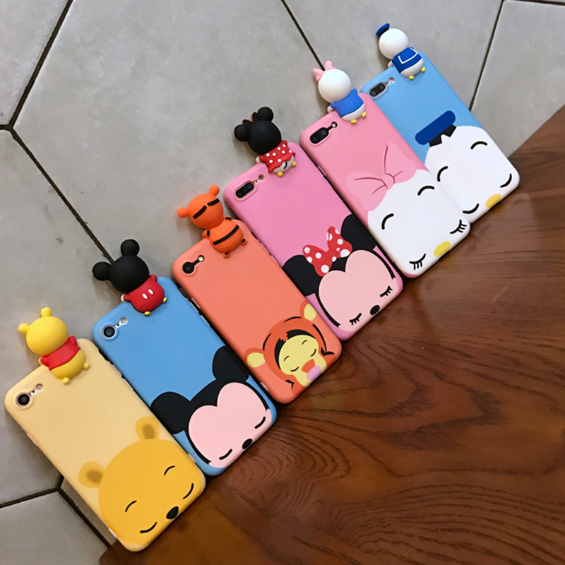 3D Cute Cartoon Mickey Minnie Mouse Donald Duck Phone Iphone 6 7 6S 8 Plus X 5S Soft Silicon Cover Coque Funda