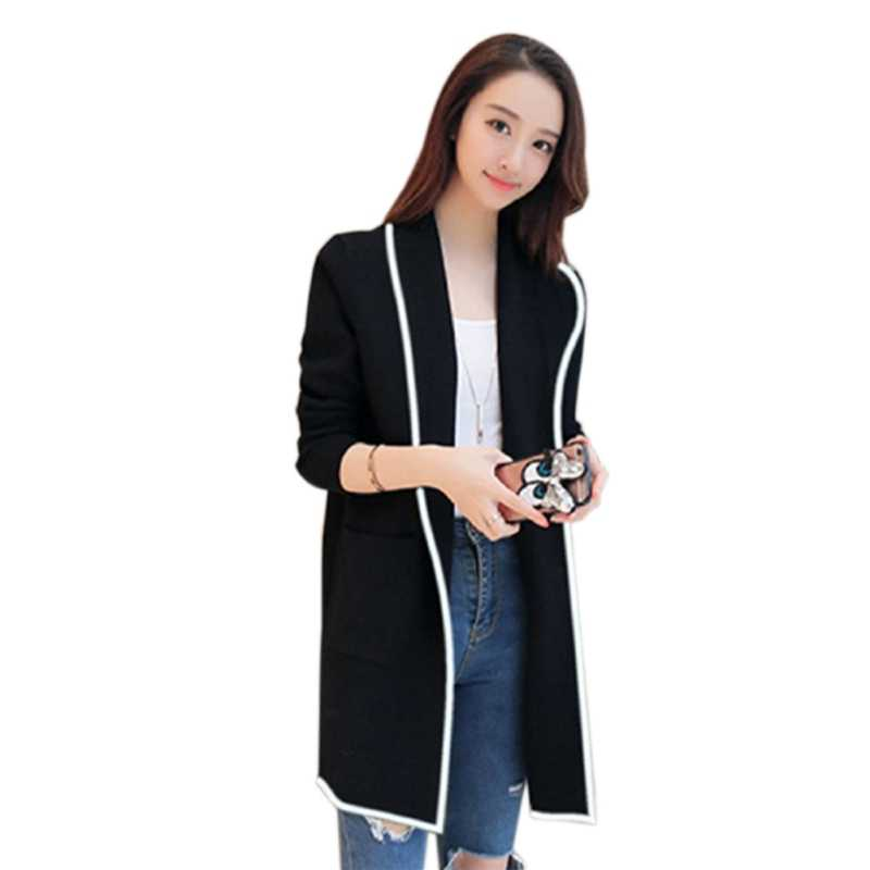 Turn Down Collar  Open Stitch Cardigan Women Black Grey Red Long Jackets Long Sleeve Autumn Winter Coat Women Plus Size X2