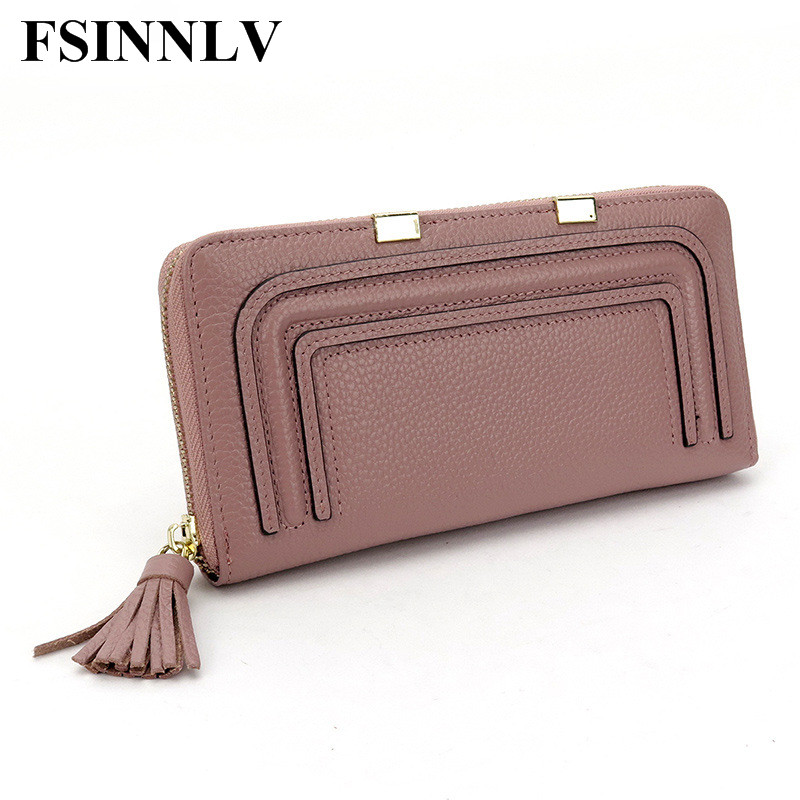 FSINNLV Genuine Leather Large Capacity Lady Long Wallets 4 Colors Women Purse Female Women Wallet Card Holder Day Clutch DC09 2017 new genuine leather wallet women lady long wallets women purse female 5 colors women wallet card holder day clutch dc249