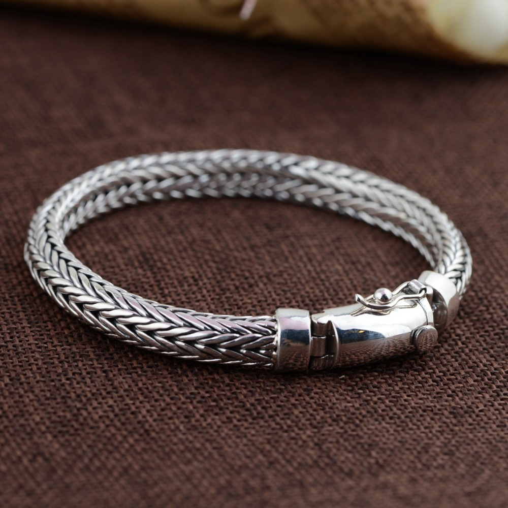Factory wholesale silver jewelry handmade Rope Bracelet S925 Thailand men retro fashion personality flat chain