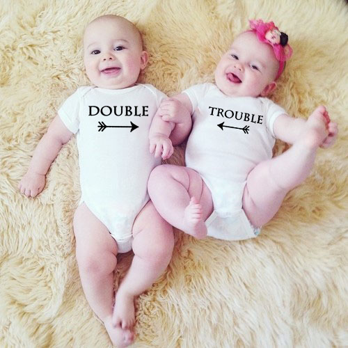 Double And Trouble Baby Girls Boys Clothing Bodysuit Cotton Summer Short Sleeves Jumpsuit Twins Baby Clothes Unisex  Onesie