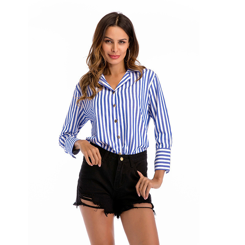 97afd8b02e21d Для женщин синие и белые вертикальные полосы рубашку с длинными рукавами  однобортный дикий дамы блуза Befree Для женщин Топы Roupas feminina