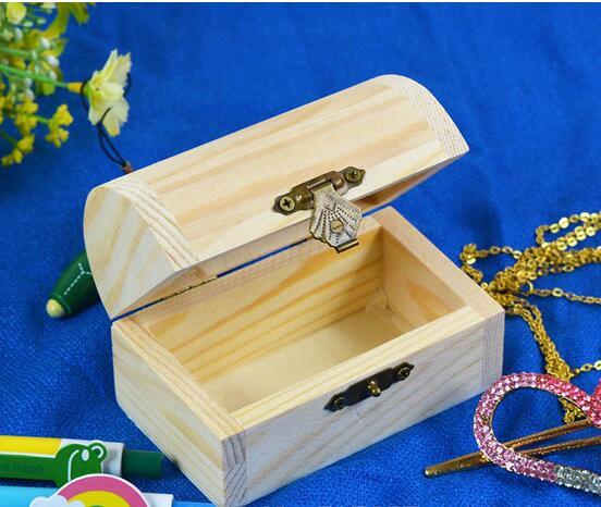 New Home Storage Box Natural Wooden With Lid Golden Lock Postcard Home Organizer Handmade Craft Jewelry Case