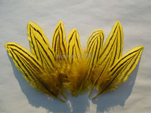 100Pcs/lot!7-10cm Silver Pheasant Feathers Dyed Yellow Color Small Craft  for Millinery Supplies,freeshipping