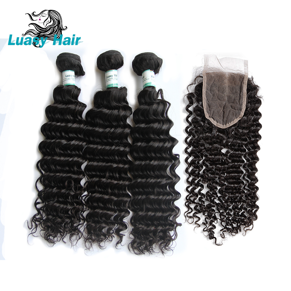 Luasy Human Hair Bundles with Closure Deep Wave 100% Remy Malaysian Hair Weave 3 Bundles With Lace Closure Natural Color