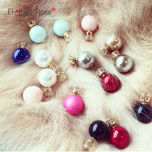 New Fashion Women Stud Earrings Double Side Candy Color Simulated Pearl Brincos Trendy Wedding Jewelry E1414