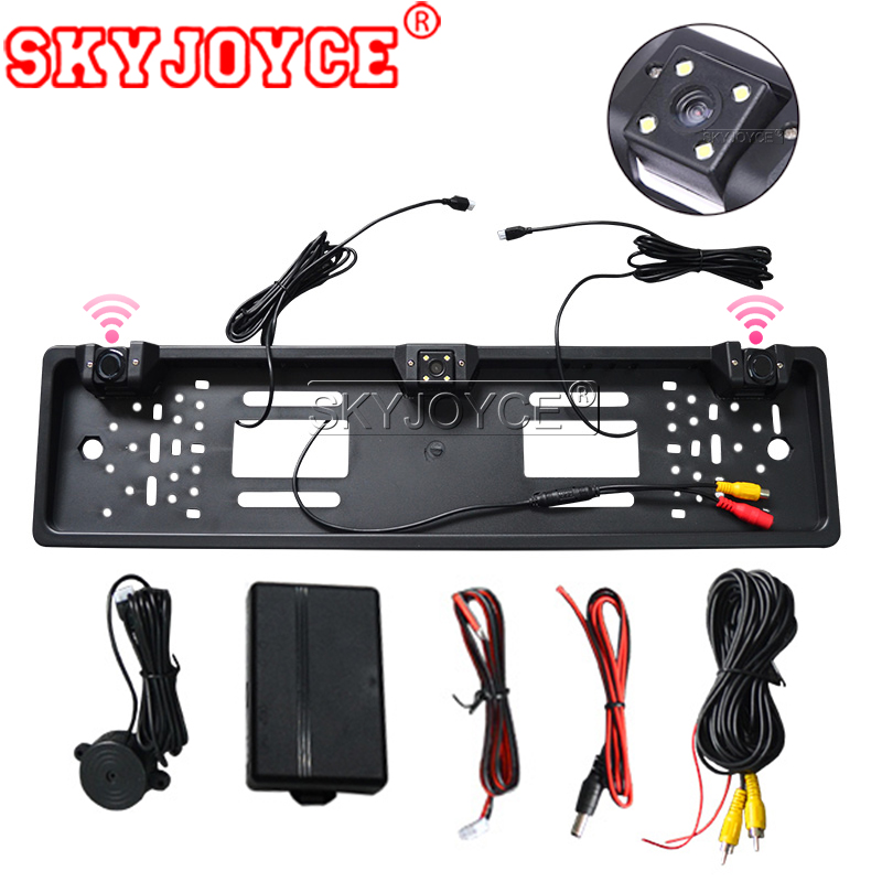 SKYJOYCE HD Car Rear View Backup Reverse Camera European License Plate Frame NightVision 4 LED car