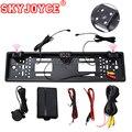 SKYJOYCE HD Auto Rückansicht Backup Reverse Kamera Europäische Lizenz Platte Rahmen NightVision 4 LED auto kamera Mit 2 radar sensoren|Kfz-Kennzeichen|   -