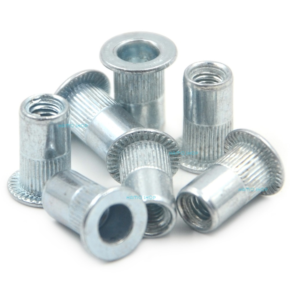 50pcs M4 Flat Head Rivet Nut Nutserts Blind Insert Rivnut Steel Threaded Multi stainless steel nylon insert hex lock nut 4 40 qty 2500