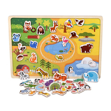 Childrens Wooden Scene Toy Car Farm Magnetic Three-dimensional Puzzle Traffic Animal Optional