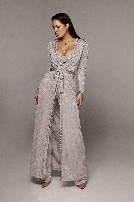 Bandage lace up long sleeve cardigan coat loose wide leg pants tube top 3 piece set for female women's suits 4