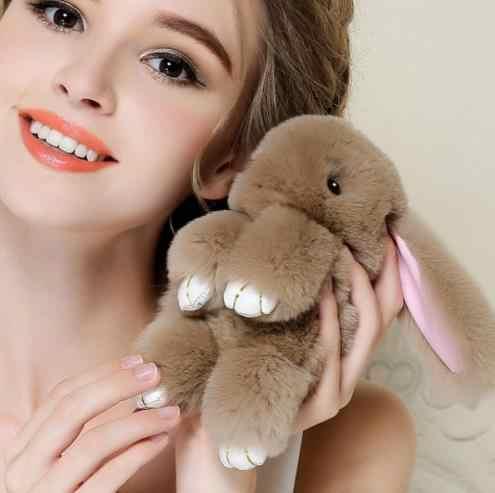 Pluff 18 cm tamanho Grande Bonito Chaveiro Coelho Rex faux Rabbit Fur pompom Chaveiro Para As Mulheres Bolsa Pingente de carro fofo fur Pom Pom Fazer