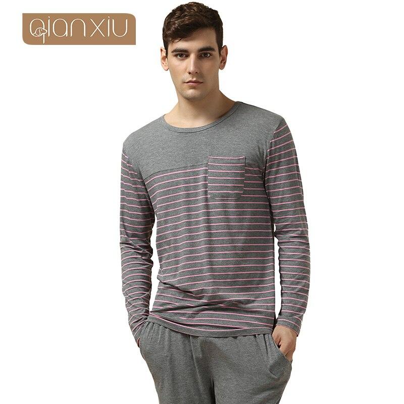 Qianxiu Pajamas Modal&Cotton Women and Men Sleepwear Classic Stripe Lounge Wear Long-sleeve Lovers Pajamas Set