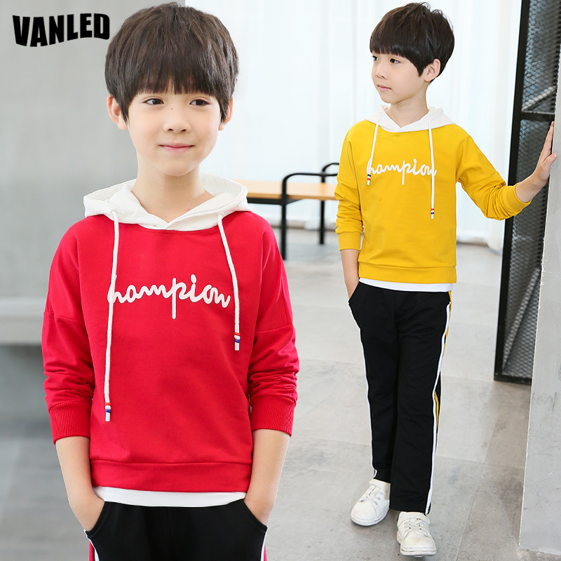 Top Quality Teenagers Boys Hoodies Clothes Sets 100%Cotton Long Sleeve Kids Sweatshirts+Pnats Boys Hoodies Jacket Sports Suits