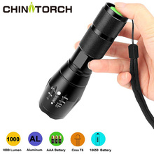 LED Tactical Flashlight 1000 Lumen XML-T6 Handhold Zoomable Flashlight 5 Modes Ultra Bright Water Resistant Camping Torch Light led flashlight xml t6 adjustable focus cob torch 9000 lumen portable flashlight 5 modes work light camping 18650 floodlight