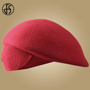 Image 5 - FS Ladies Red Wedding Hat For Women Vintage 100% Wool Felt Pillbox Hats Black Fascinator Winter Fedoras Bow Beret Church Hats