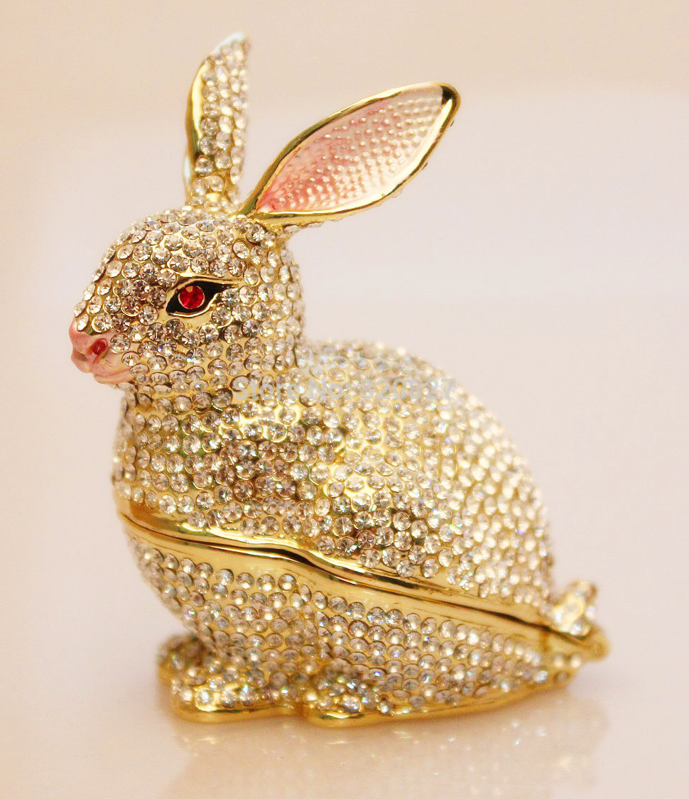 Pewter Rabbit Jewelry Box Silver Czech Crystal Rabbit