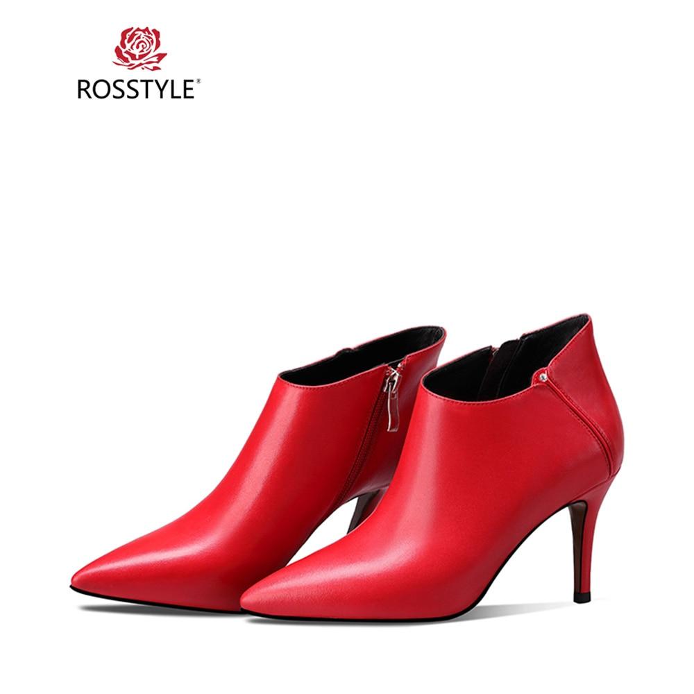 Moda Elegante Mujer red Rosstyle Sólido Calidad Cuero Arranque Black Tobillo Punta Oficina Bota Delgada De Dama B43 Invierno Tacones 2018 Genuino CtCqP